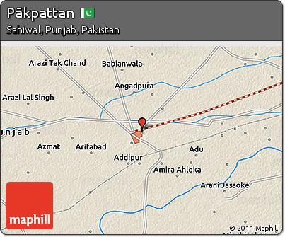 Free Shaded Relief D Map Of Pākpattan - Pakpattan map