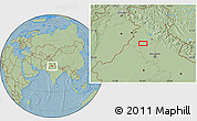 """Savanna Style Location Map of the area around 30°13'46""""N,75°43'29""""E, hill shading"""
