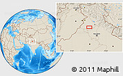 """Shaded Relief Location Map of the area around 30°13'46""""N,75°43'29""""E"""