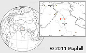 """Blank Location Map of the area around 30°13'46""""N,76°34'29""""E"""