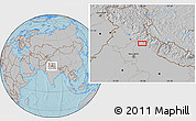 Gray Location Map of Badrīpur, hill shading