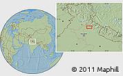 Savanna Style Location Map of Badrīpur, hill shading