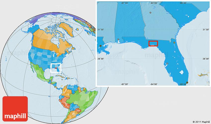 Political Location Map of Live Oak Island