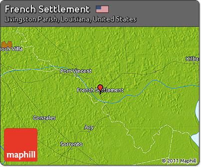Free Physical Map of French Settlement on louisiana's rivers, louisiana's state flag, louisiana's climate,