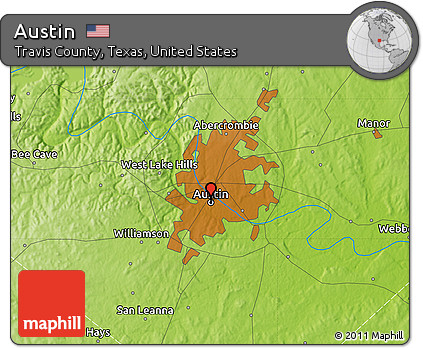 Physical Map Of Texas.Free Physical Map Of Austin