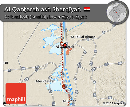 Free Shaded Relief Map of Al Qanarah Ash Sharqyah