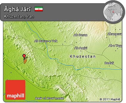 Physical 3D Map of Āghā Jārī