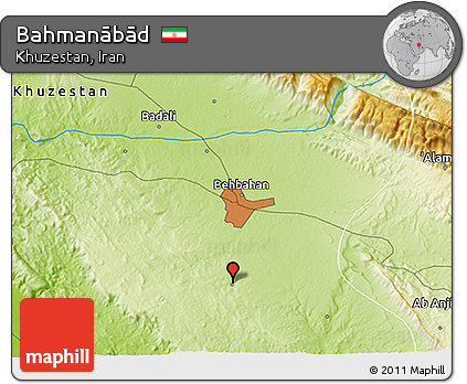 Physical 3D Map of Bahmanābād