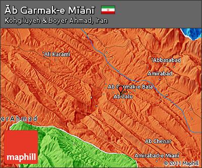 Political 3D Map of Āb Garmak-e Mīānī
