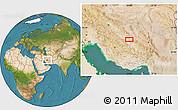 Satellite Location Map of Nārzū'īyeh