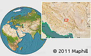Satellite Location Map of `Abbāsābād-e Amīn