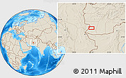 Shaded Relief Location Map of `Abd ol Raḩmān Ya`qūb