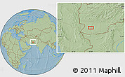 """Savanna Style Location Map of the area around 30°42'29""""N,62°58'30""""E, hill shading"""