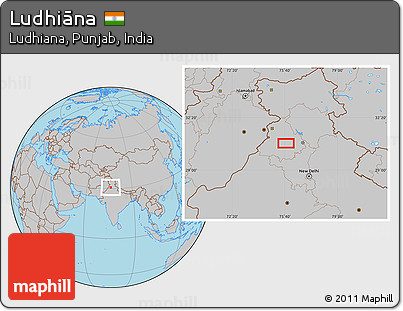 Gray Location Map of Ludhiāna
