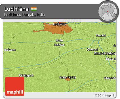 Physical Panoramic Map of Ludhiāna