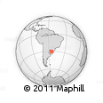 """Outline Map of the Area around 30° 23' 20"""" S, 55° 10' 29"""" W, rectangular outline"""
