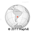 """Outline Map of the Area around 30° 23' 20"""" S, 58° 34' 30"""" W, rectangular outline"""