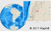 """Shaded Relief Location Map of the area around 30°23'20""""S,67°55'30""""W"""