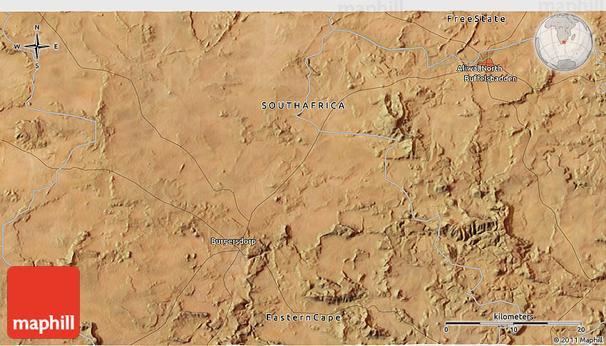 Satellite 3D Map of Aliwal North
