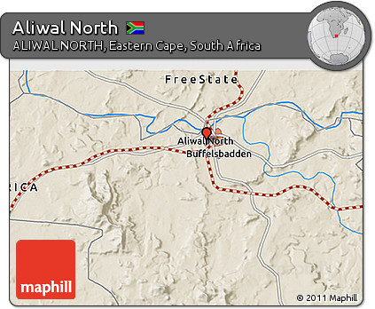 Free Shaded Relief 3D Map of Aliwal North