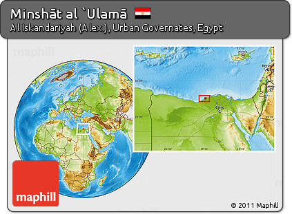 Free Physical Location Map of Minsht Al Ulam