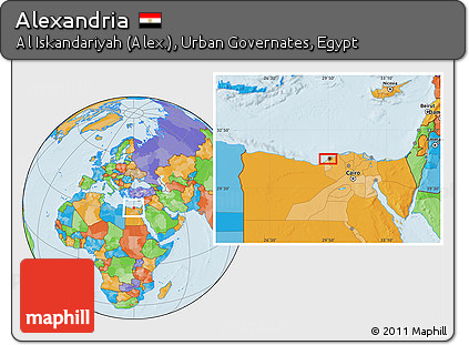 Free Political Location Map of Alexandria
