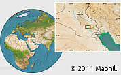 """Satellite Location Map of the area around 31°11'6""""N,45°58'30""""E"""
