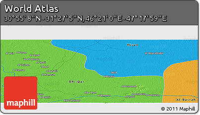 """Political Panoramic Map of the Area around 31°11'6""""N,46°49'30""""E"""