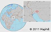 Gray Location Map of Zīrnā-ye Soflá