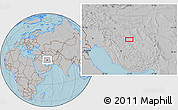Gray Location Map of Seneh'ī, hill shading