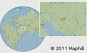 Savanna Style Location Map of Seneh'ī, hill shading