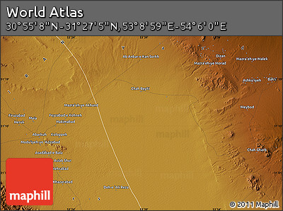"""Physical Map of the Area around 31°11'6""""N,53°37'30""""E"""