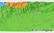 """Political 3D Map of the area around 31°11'6""""N,6°43'29""""W"""