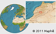 """Satellite Location Map of the area around 31°11'6""""N,6°43'29""""W"""