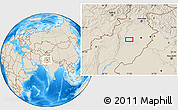 """Shaded Relief Location Map of the area around 31°11'6""""N,71°28'29""""E"""