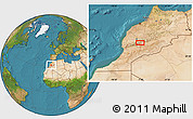 """Satellite Location Map of the area around 31°11'6""""N,7°34'30""""W"""