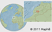 """Savanna Style Location Map of the area around 31°11'6""""N,7°34'30""""W, hill shading"""