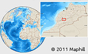 """Shaded Relief Location Map of the area around 31°11'6""""N,7°34'30""""W"""