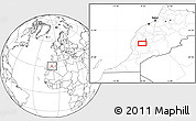 """Blank Location Map of the area around 31°11'6""""N,8°25'30""""W"""