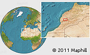 """Satellite Location Map of the area around 31°11'6""""N,8°25'30""""W"""