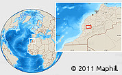 """Shaded Relief Location Map of the area around 31°11'6""""N,8°25'30""""W"""