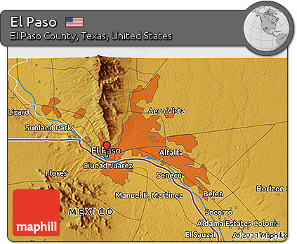 Free Physical 3D Map of El Paso
