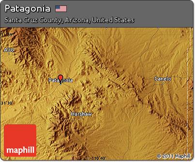 Free Physical Map Of Patagonia - Arizona physical map