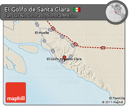 Golfo De Mexico Map.Free Shaded Relief Map Of El Golfo De Santa Clara