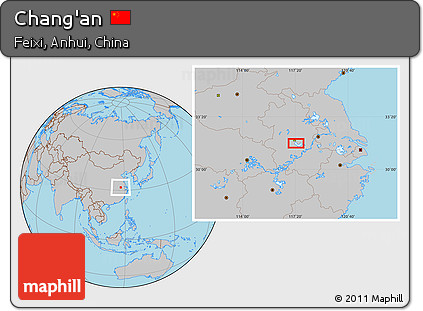 Free Gray Location Map of Chang'an Chang An Map on