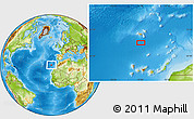 """Physical Location Map of the area around 31°39'38""""N,16°55'29""""W"""