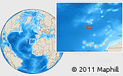 """Shaded Relief Location Map of the area around 31°39'38""""N,16°55'29""""W"""