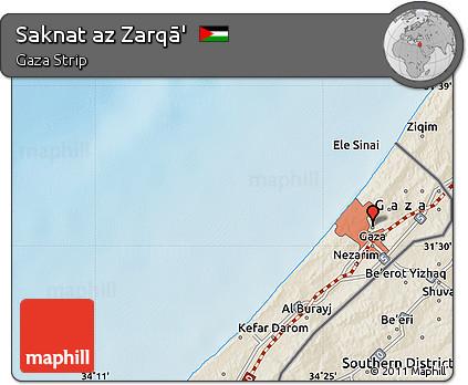 Free Shaded Relief Map of Saknat Az Zarq