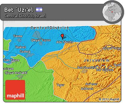 Political 3D Map of Bet `Uzi'el