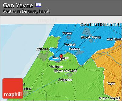 Political 3D Map of Gan Yavne